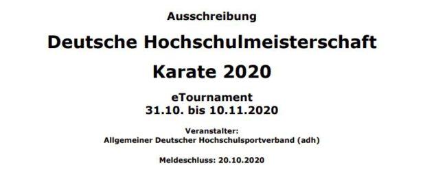 Deutsche Hochschulmeisterschaft für Karate 2020 als eTournament